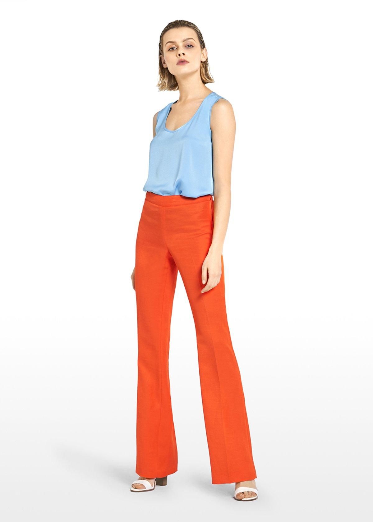 Plock flared trousers in linen - Mandarino - Woman