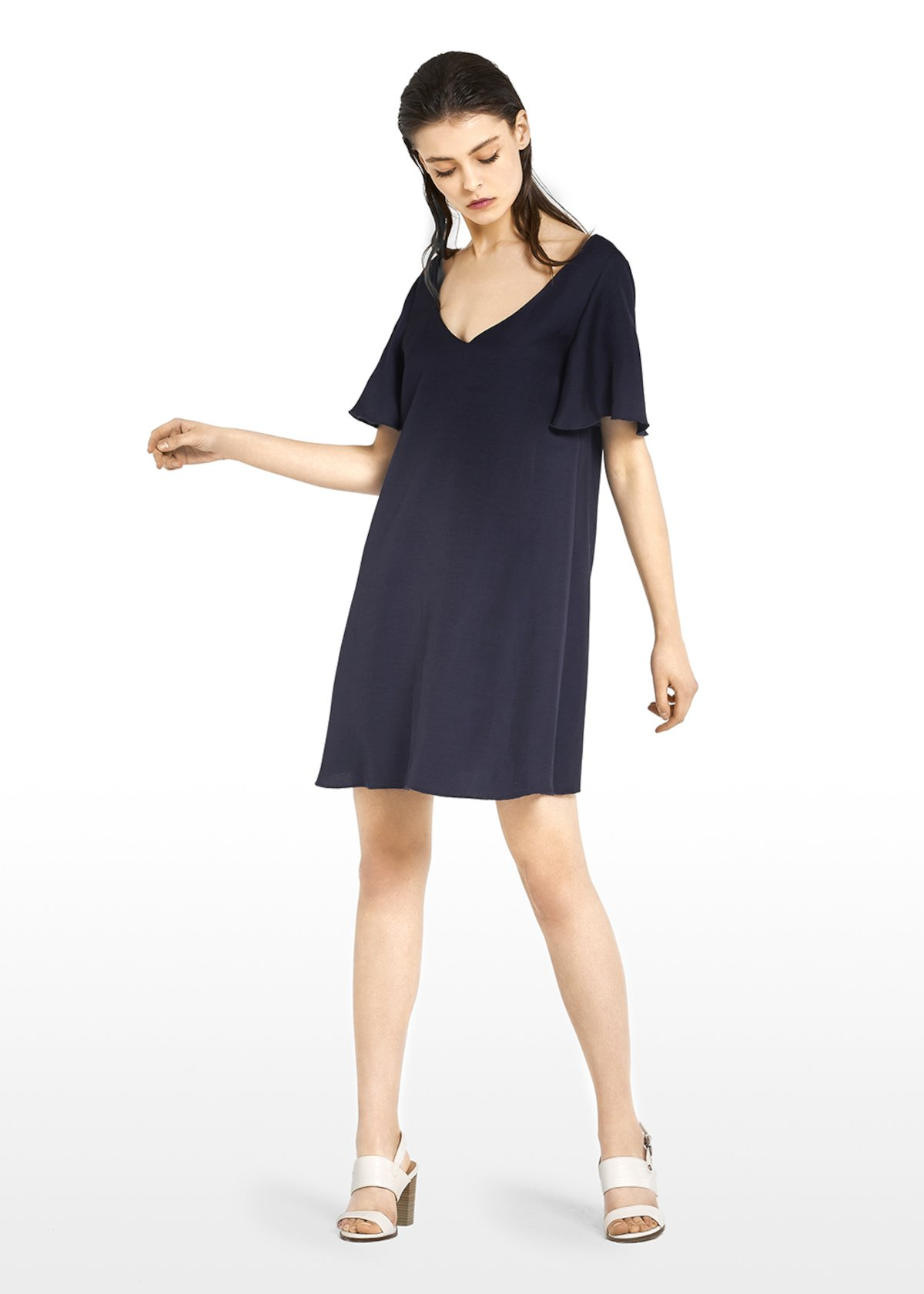 Agadir dress in linen blend with ruffles at the cuffs - Medium Blue - Woman