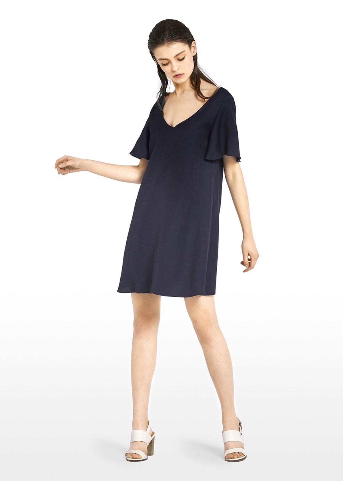 Agadir dress in linen blend with ruffles at the cuffs - Medium Blue - Woman