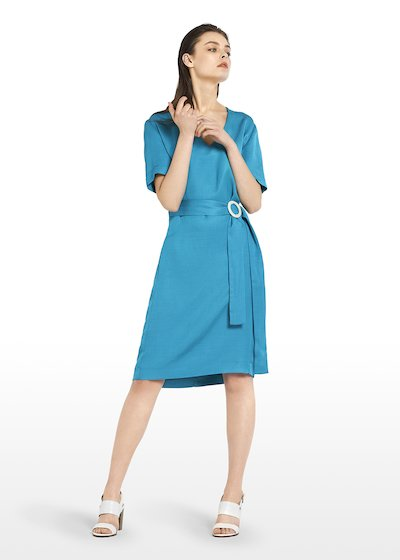 Ajaccio linen dress with V-neck and belt detail