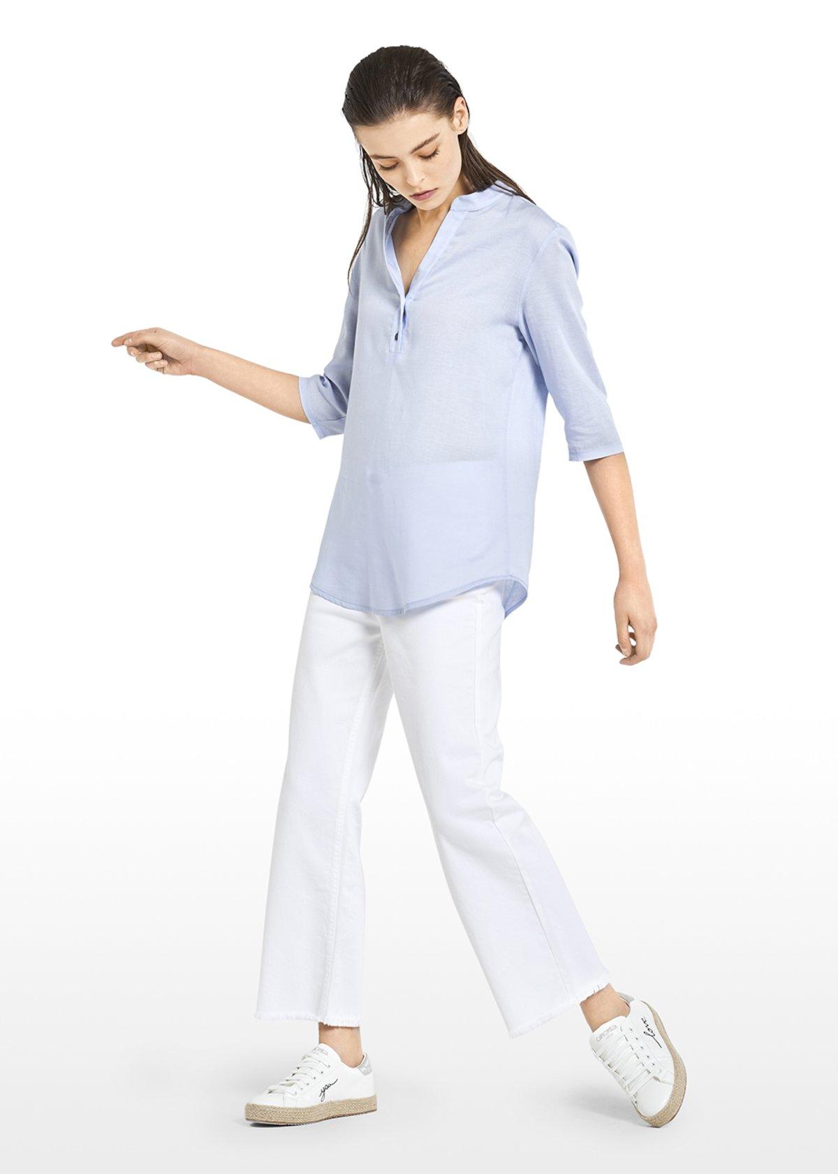 T-shirt Suemi con scollo alla coreana - Light Sky - Donna