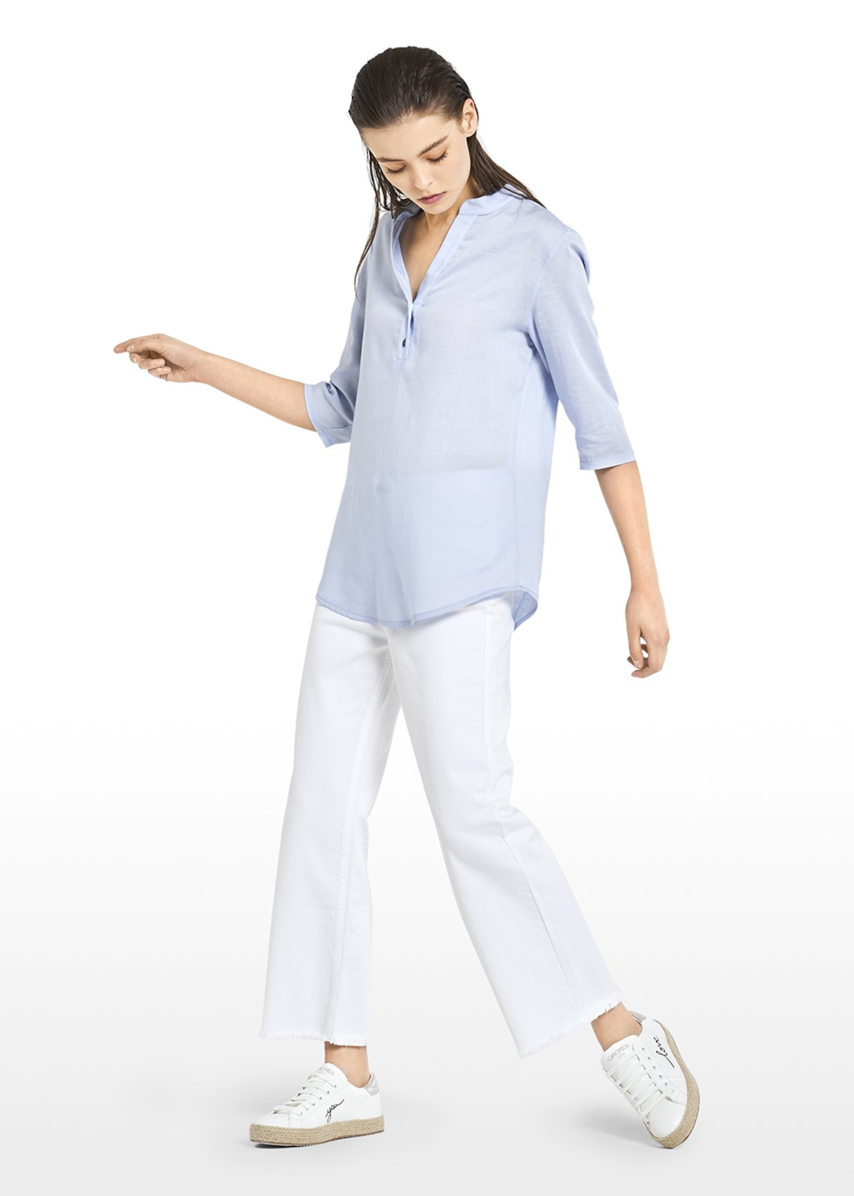 Suemi t-shirt with mandarin collar - Light Sky - Woman