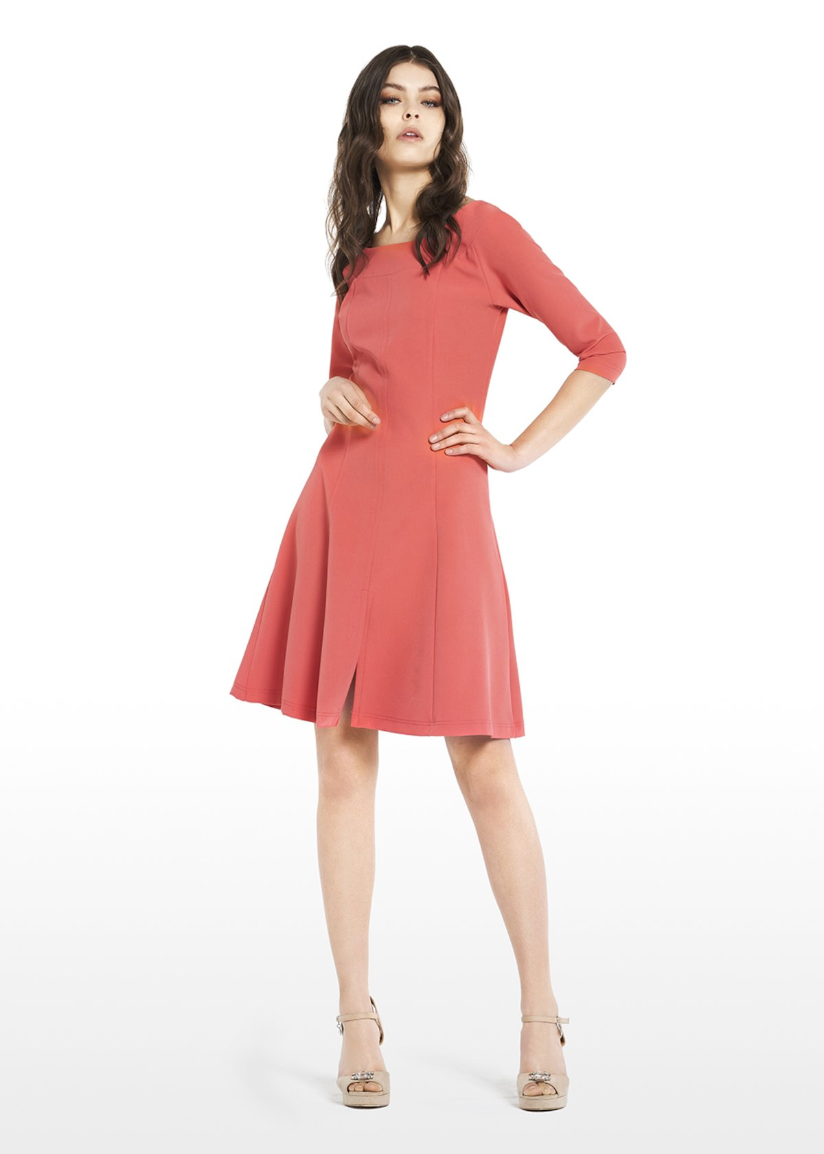 Alessio technical fabric dress with boat neckline - Flamingo - Woman