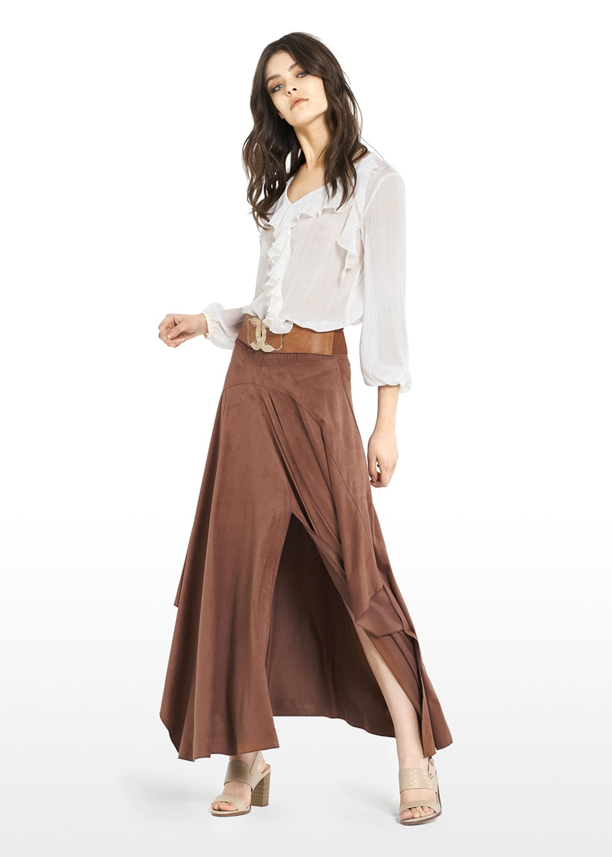 Giada fake suede long skirt with front slit - Tobacco - Woman