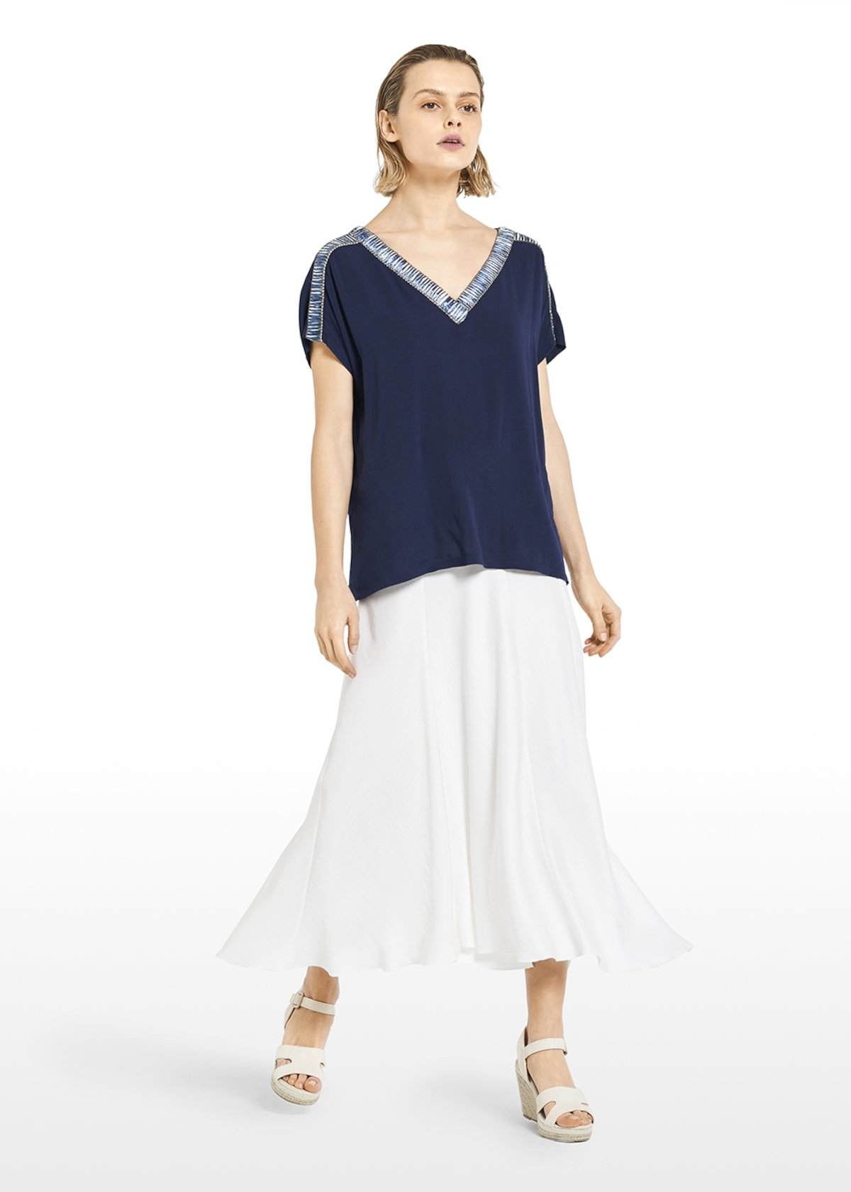 Sirena T-shirt with trimmed neckline detail - Medium Blue - Woman