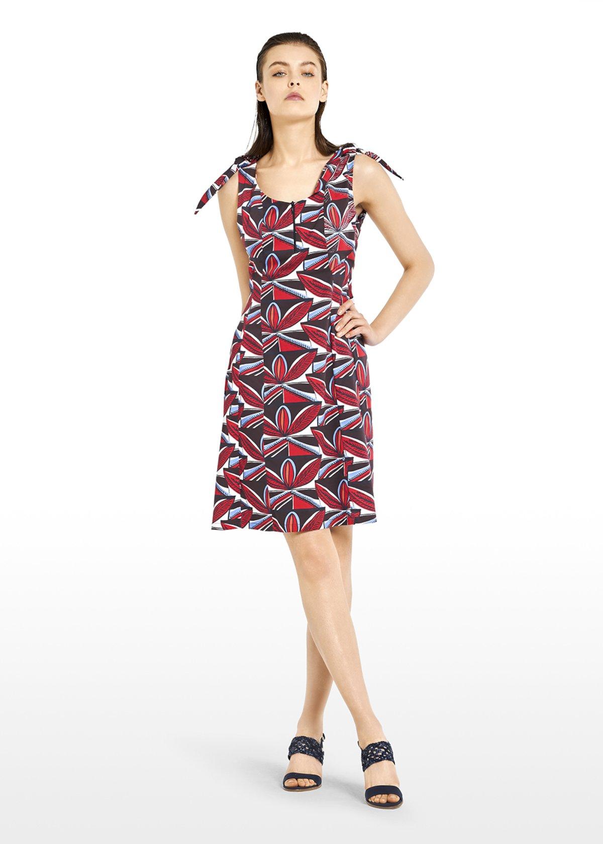 Alan dress in geometric fantasy cotton with knot detail - Tulipano / Crosta Fantasia - Woman