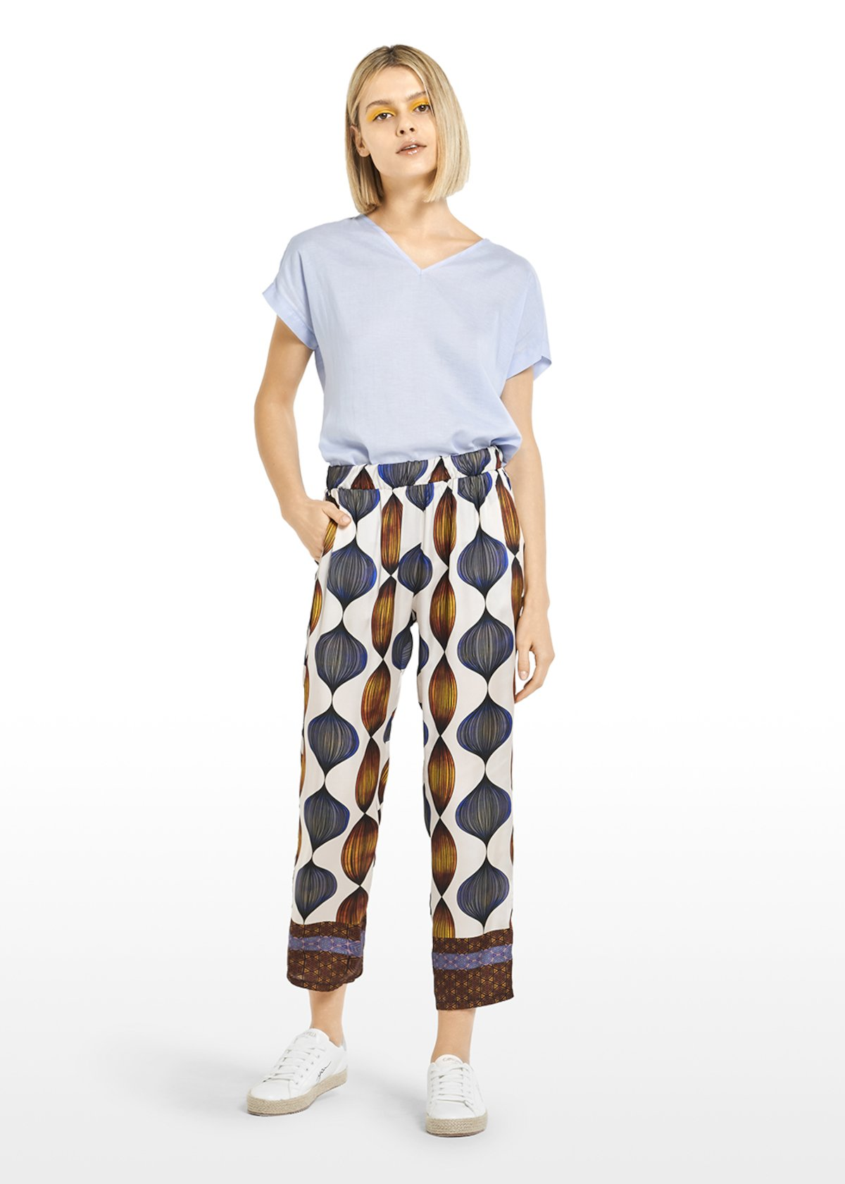All-over fantasy Peder cropped trousers with contrasting edges - White / Rame Fantasia - Woman