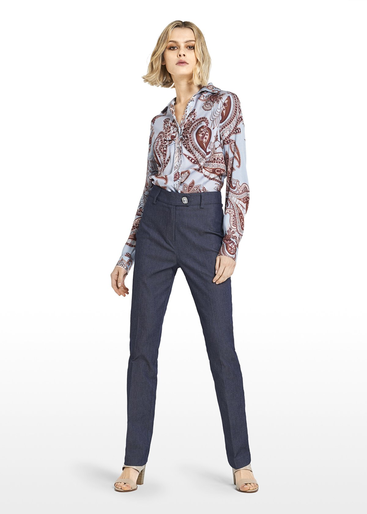 Charlize shirt jasmine pattern with collar - Sky / Tobacco Fantasia - Woman