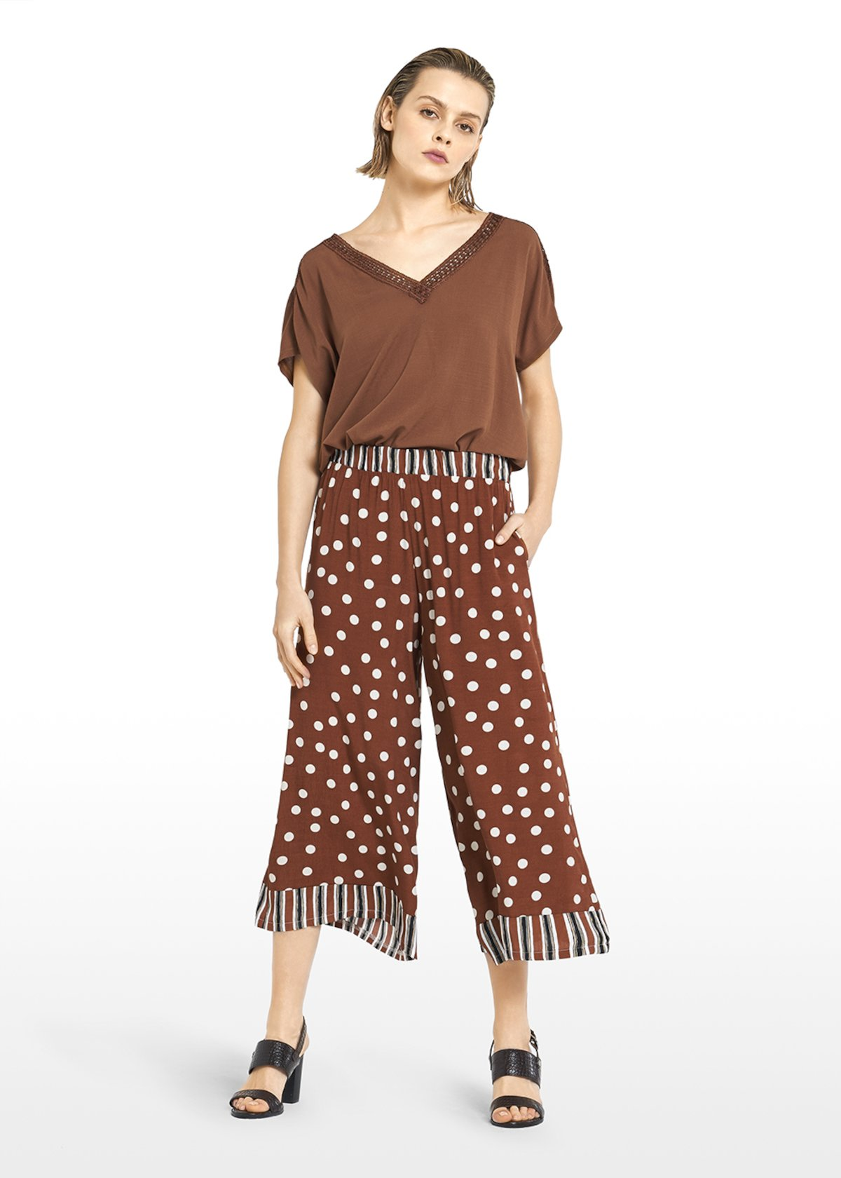 Paly capri pants  Megan design with stripes & pois fantasy - Tobacco / White Pois - Woman