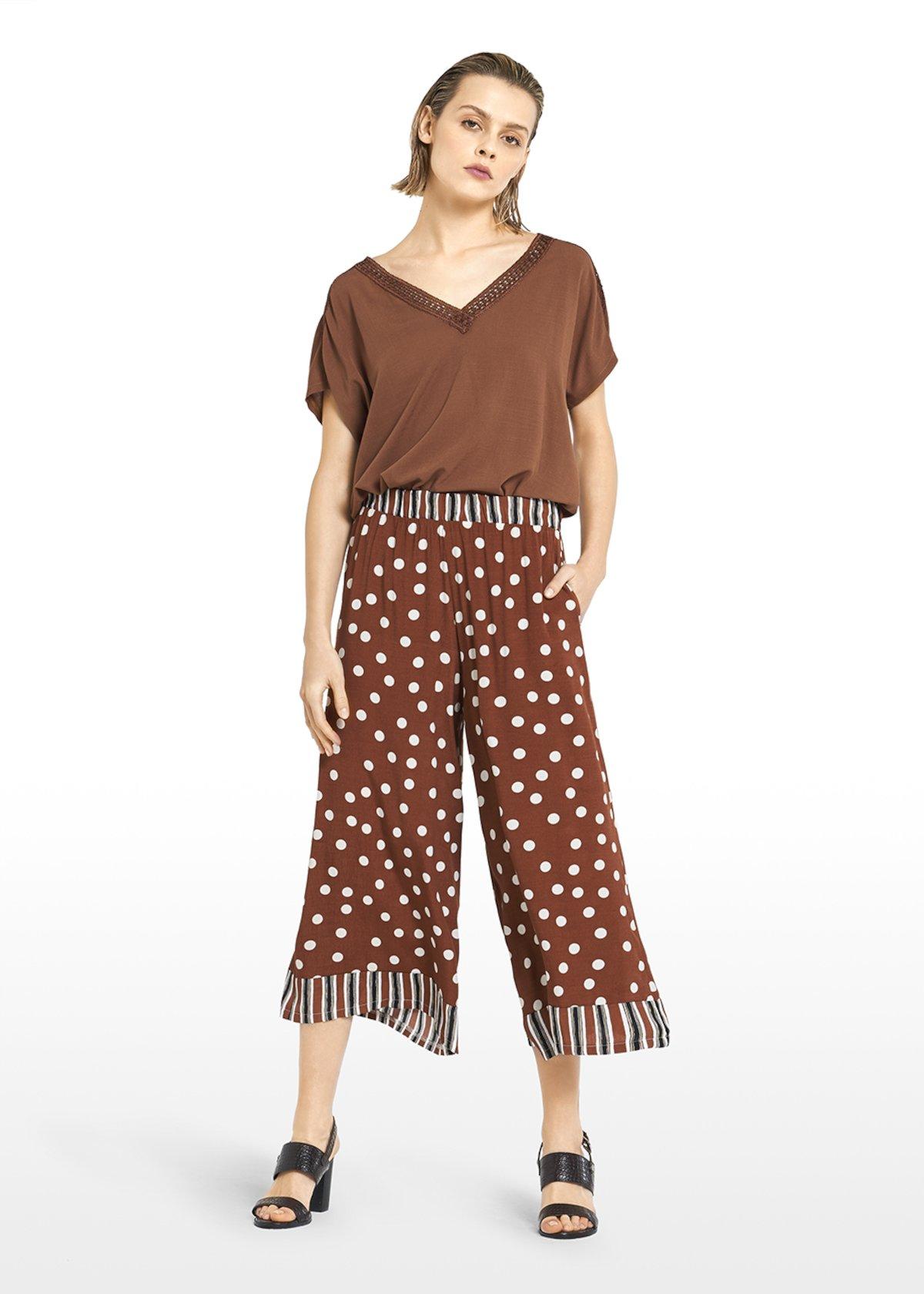 Paly capri pants  Megan design with stripes & pois fantasy