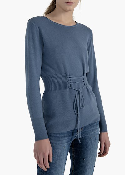 Cannatè sweater Maira Virgin neckline with criss cross on the front