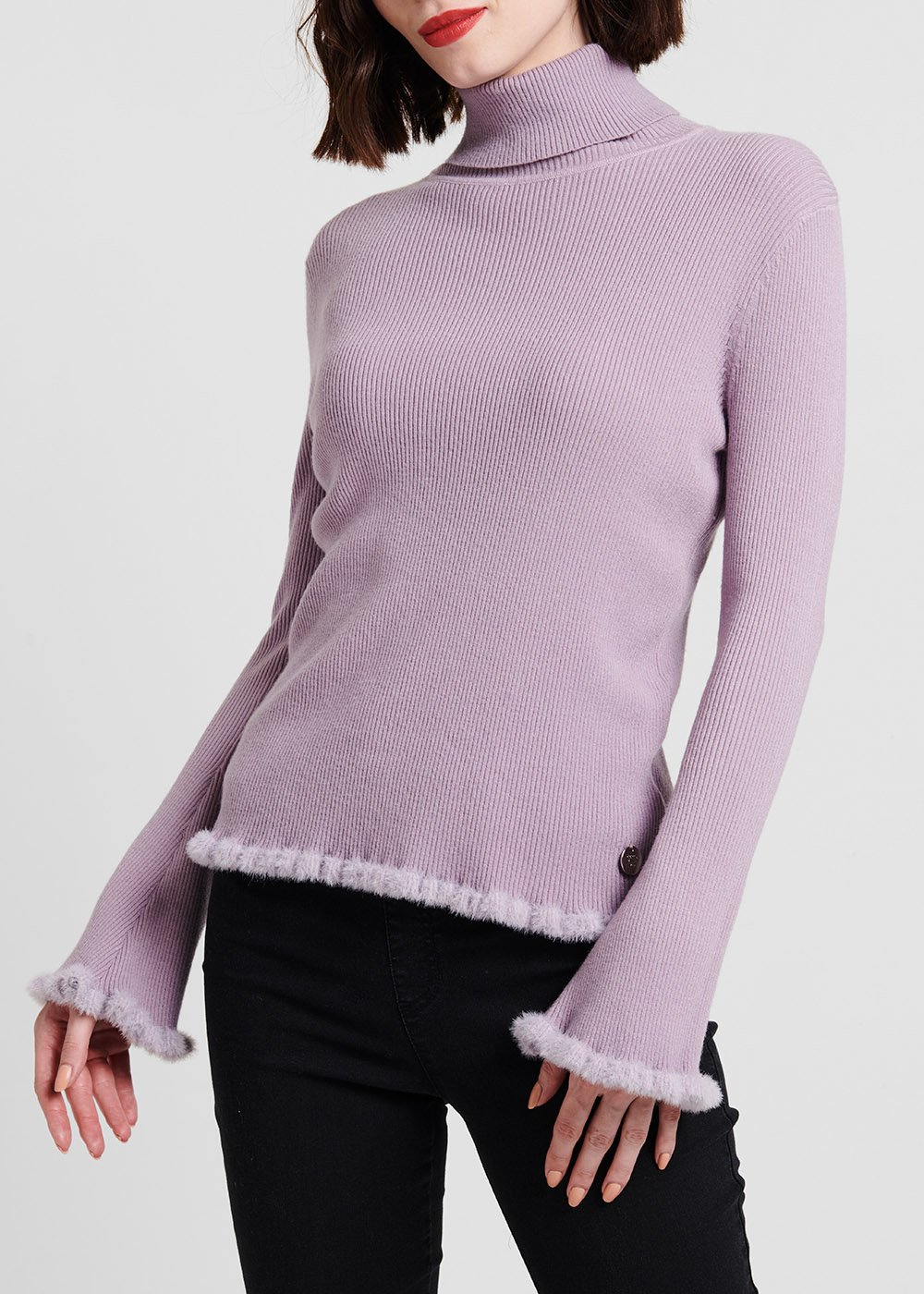 Martina turtleneck sweater with fur-effect border - Solvente - Woman