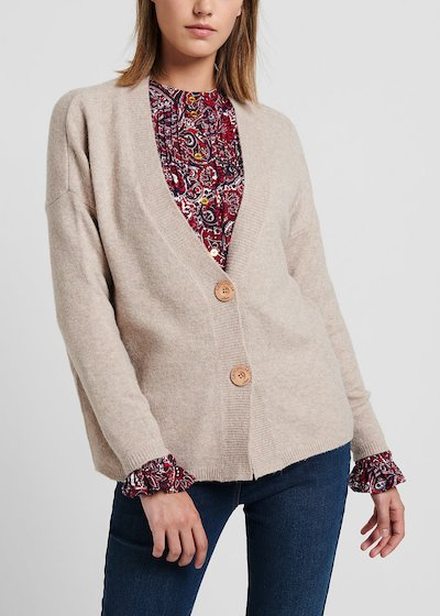 Cardigan con lana color mastice