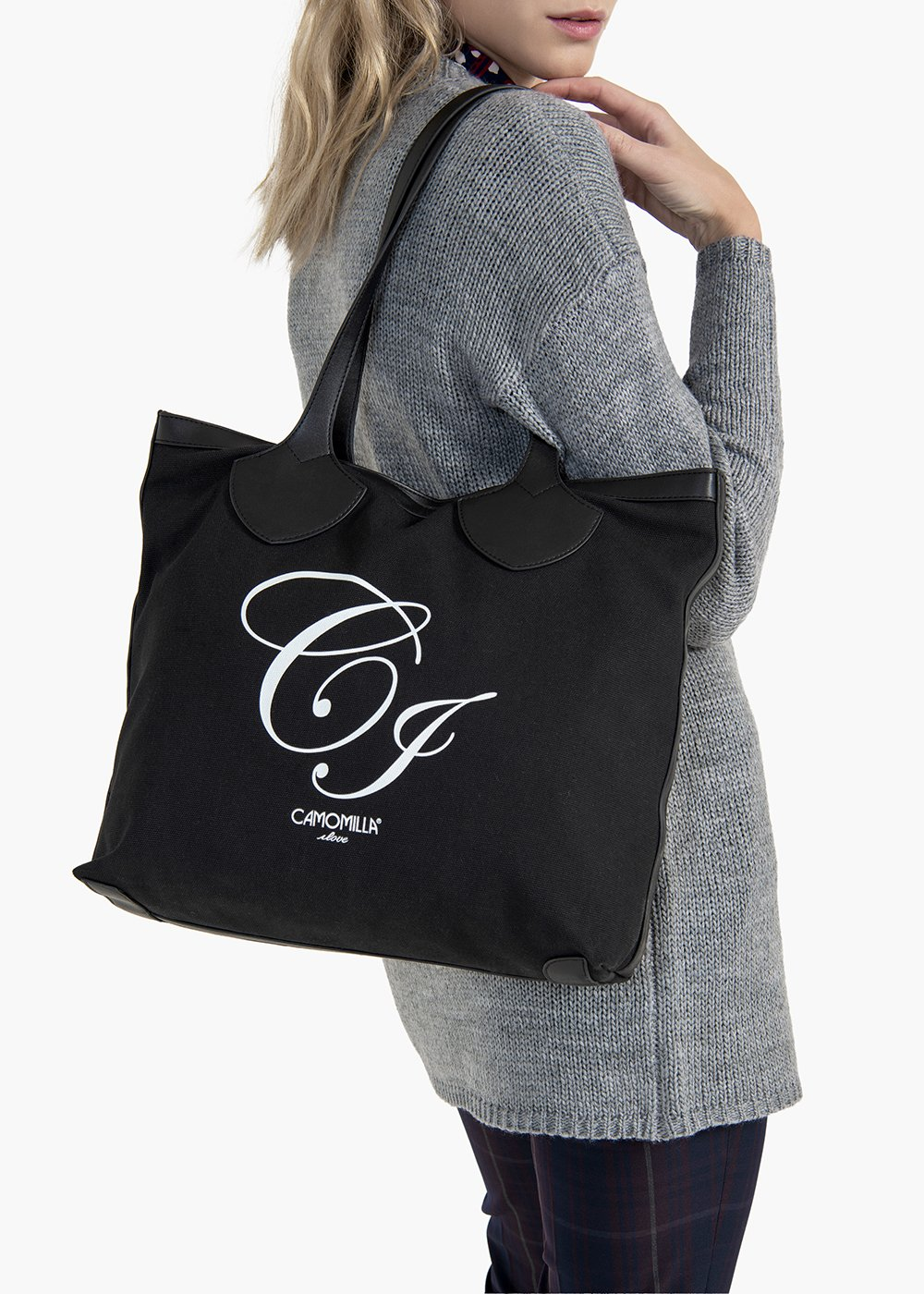 Brenda shopping bag in canvas and eco leather with CI logo - Black - Woman