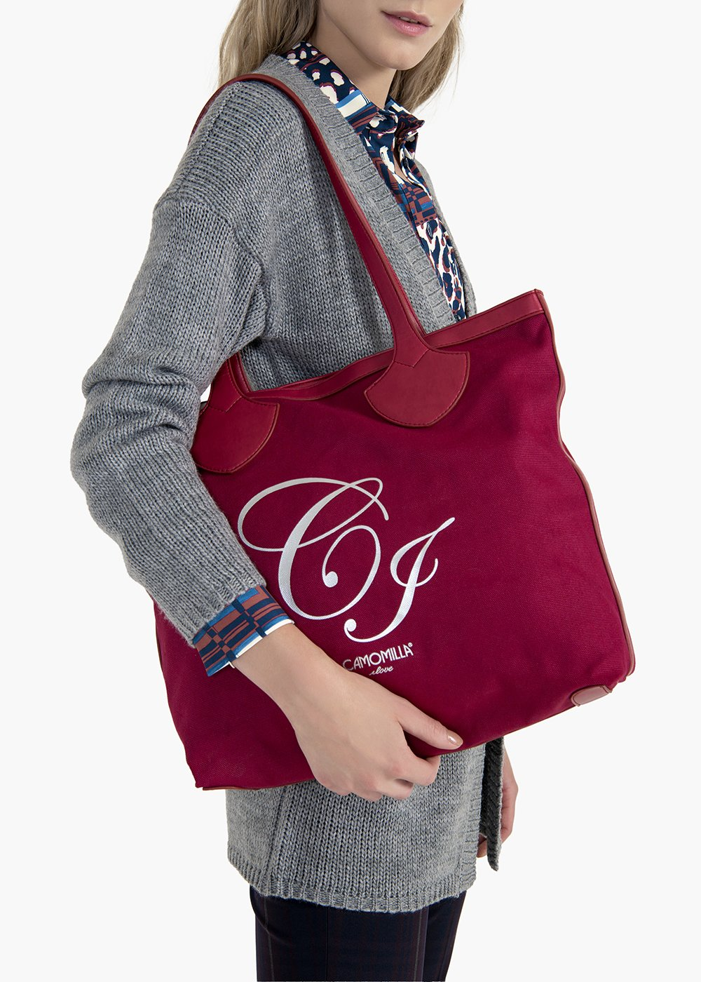 Brenda shopping bag in canvas and eco leather with CI logo - Rasberry - Woman