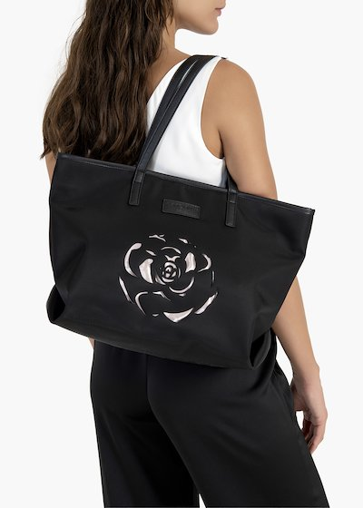 Boly nylon shopping bag with lasered flower detail