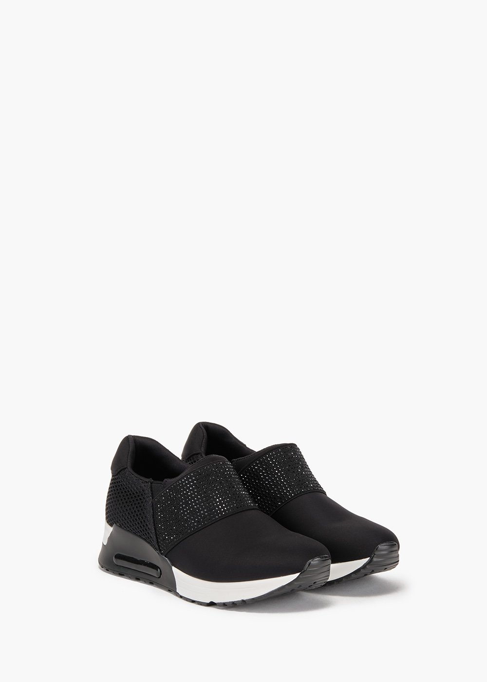 Sakira gym shoes in technical fabric and eco leather - Black - Woman