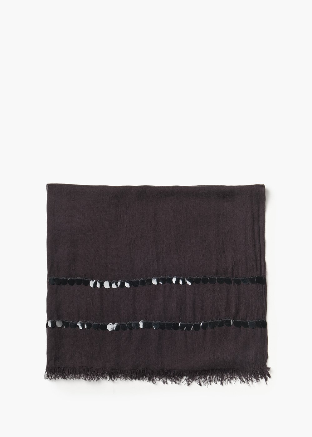 Pashmina basica Sequins con doppia linea di paillettes - Black - Donna