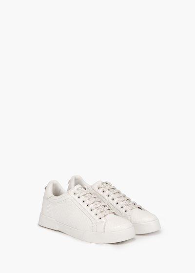 Scarpe ginniche Sandy in eco pelle stampa pitone total white