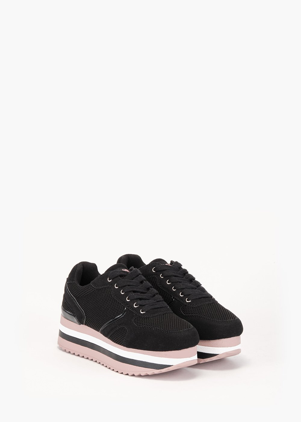 Snappy gym shoes in eco suede - Black - Woman
