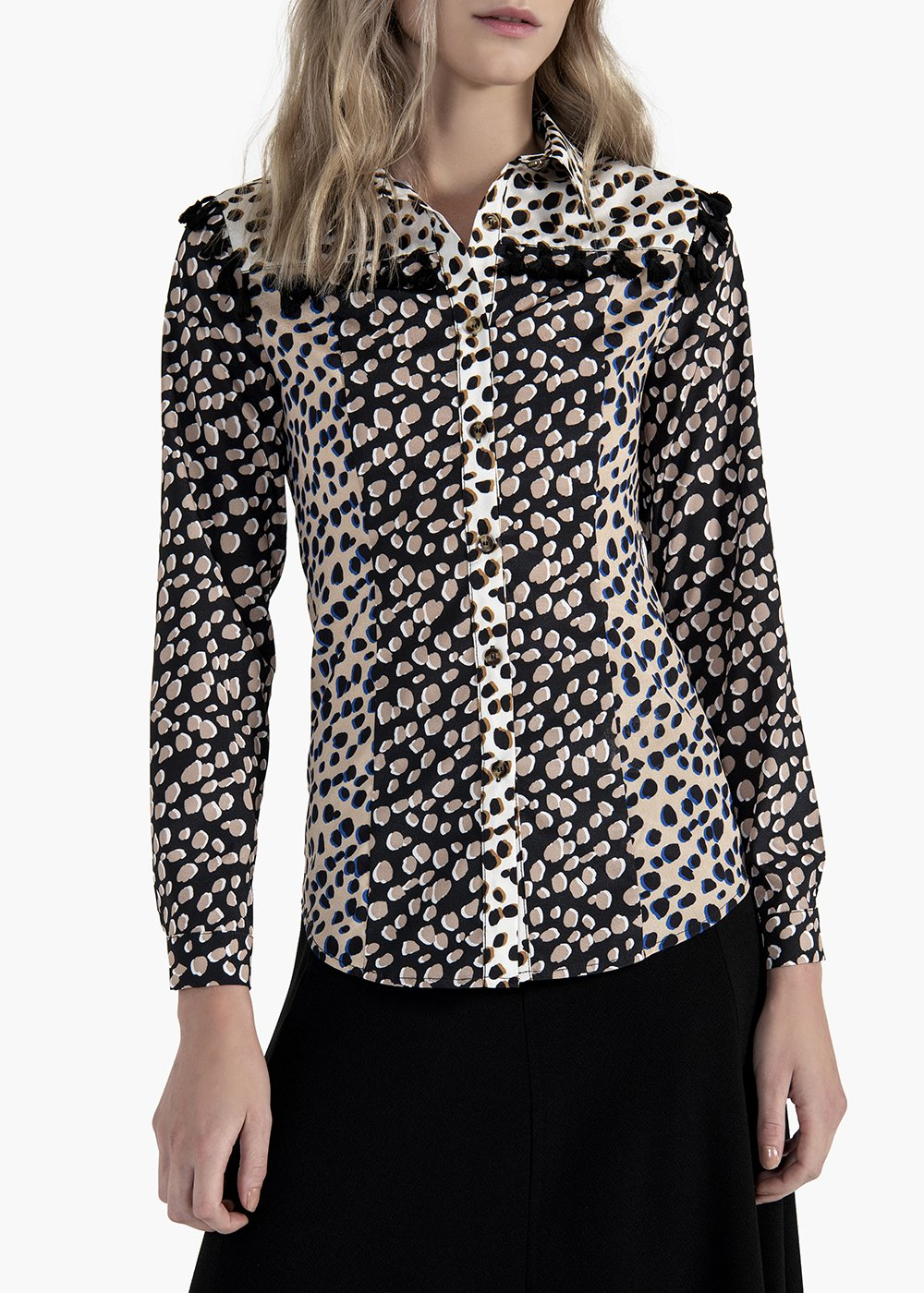 Spotted printed Calor blouse with cotton tassels - Light Beige\  Black\ Animalier - Woman