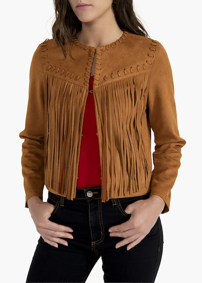 Gary fake suede jacket with fringes on the front and back