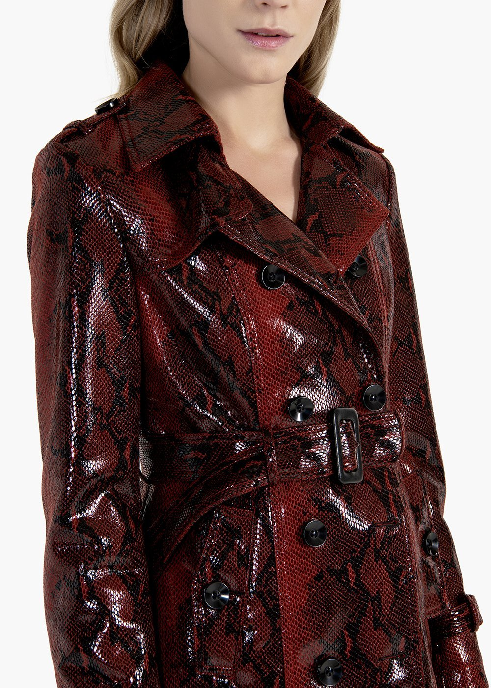 Taigor double-breasted trench coat with belt and buckle - Passione\ Black\ Animalier - Woman