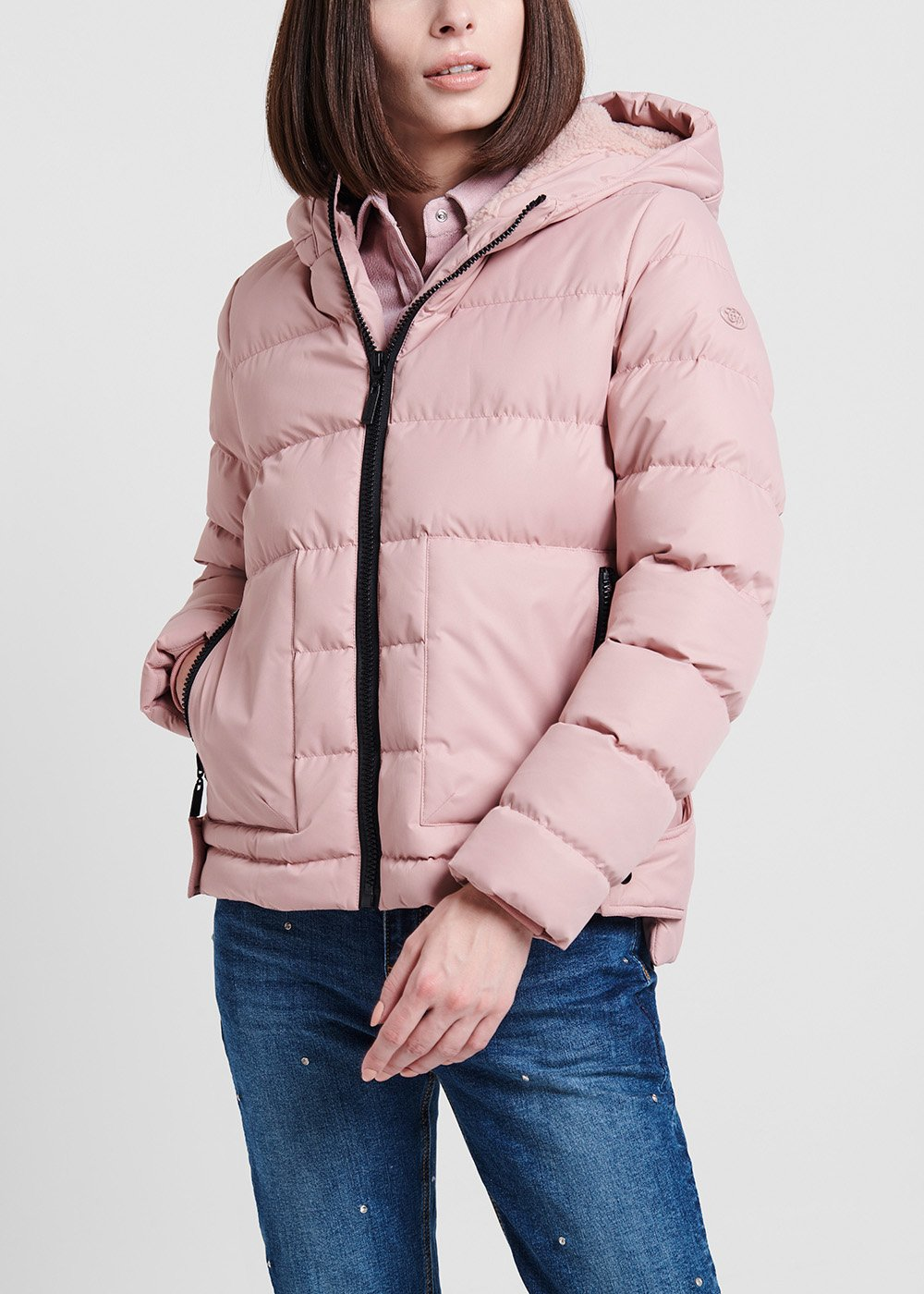 Nylon sepia - coloured down jacket with faux - fur inside - Solvente - Woman