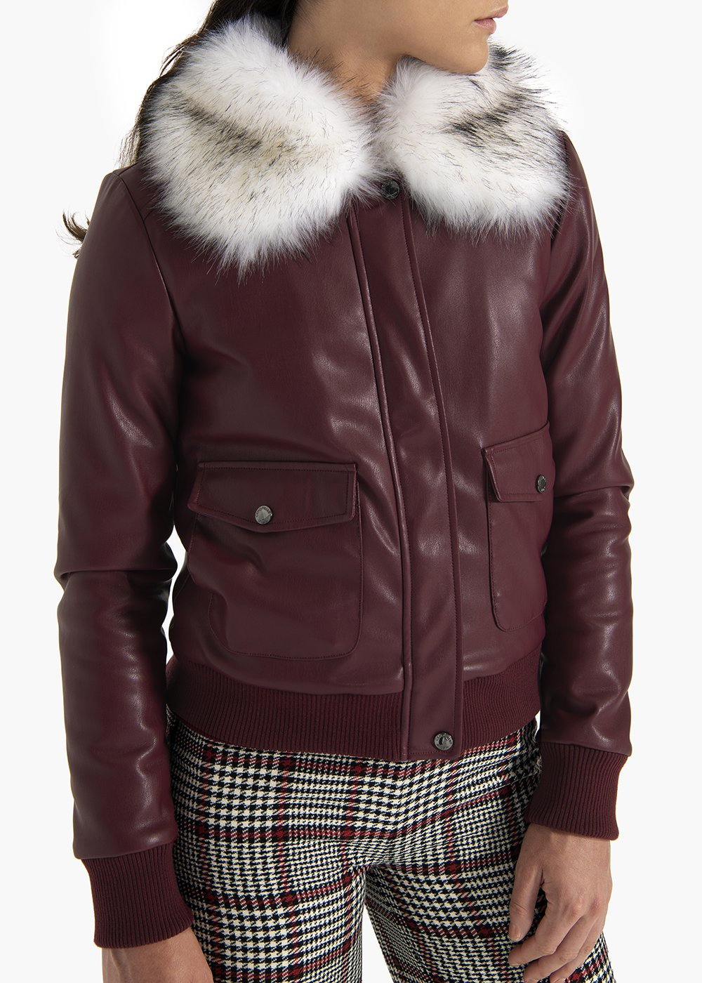 Bomber Jacket Gipsy in faux leather  with eco-fur collar - Black cherry - Woman