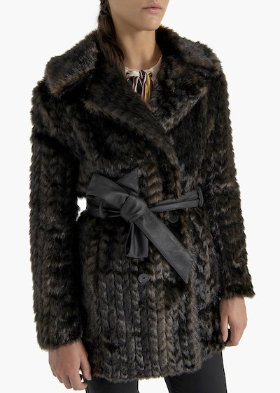 Double-breasted coat Glad in eco-fur mink effect