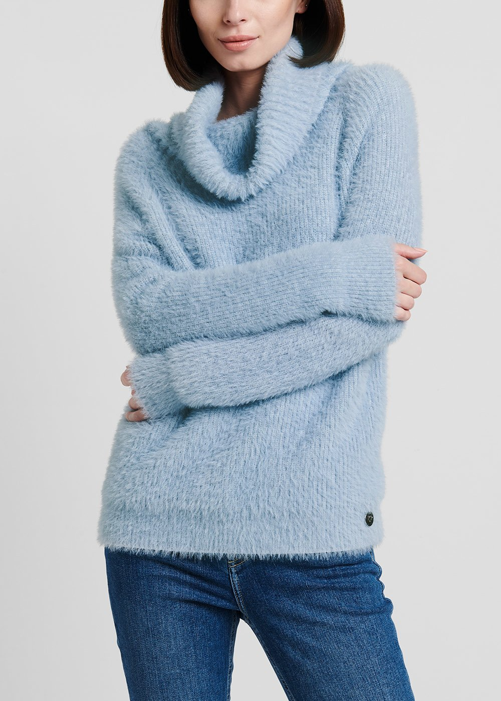 Material - coloured turtleneck sweater in fur - effect fabric - Fog - Woman