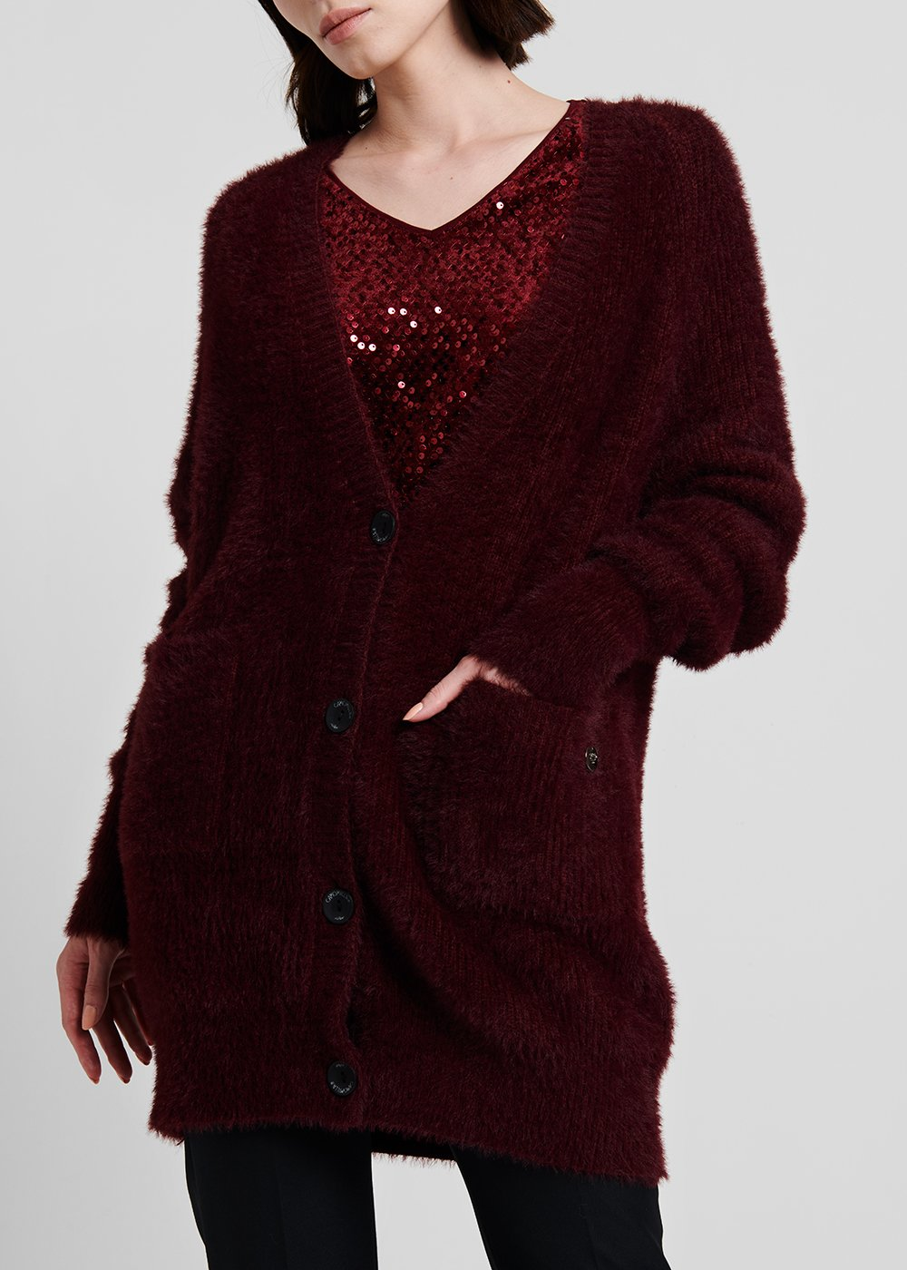 Cardigan with oversize volume in fur - effect fabric - Black cherry - Woman