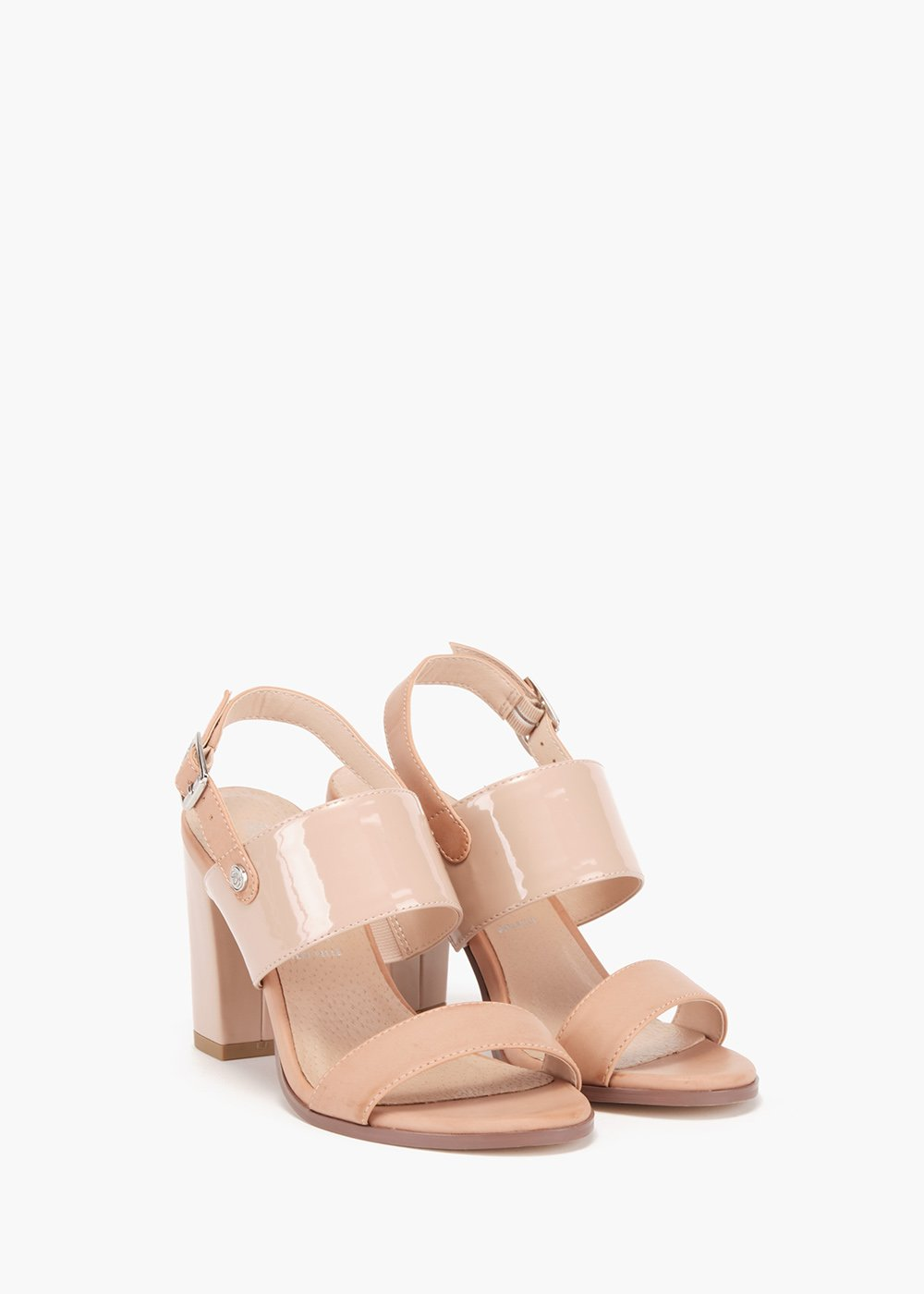 Shyla sandals with nude effect and double band in eco leather and patent leather - Grey - Woman