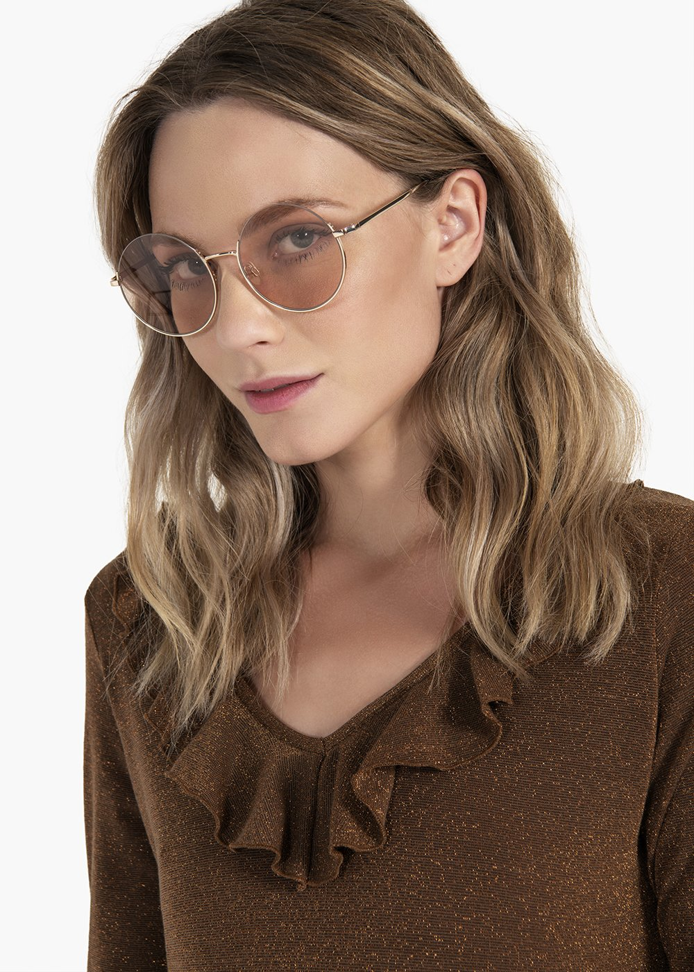Round-shaped sunglasses - Gold - Woman