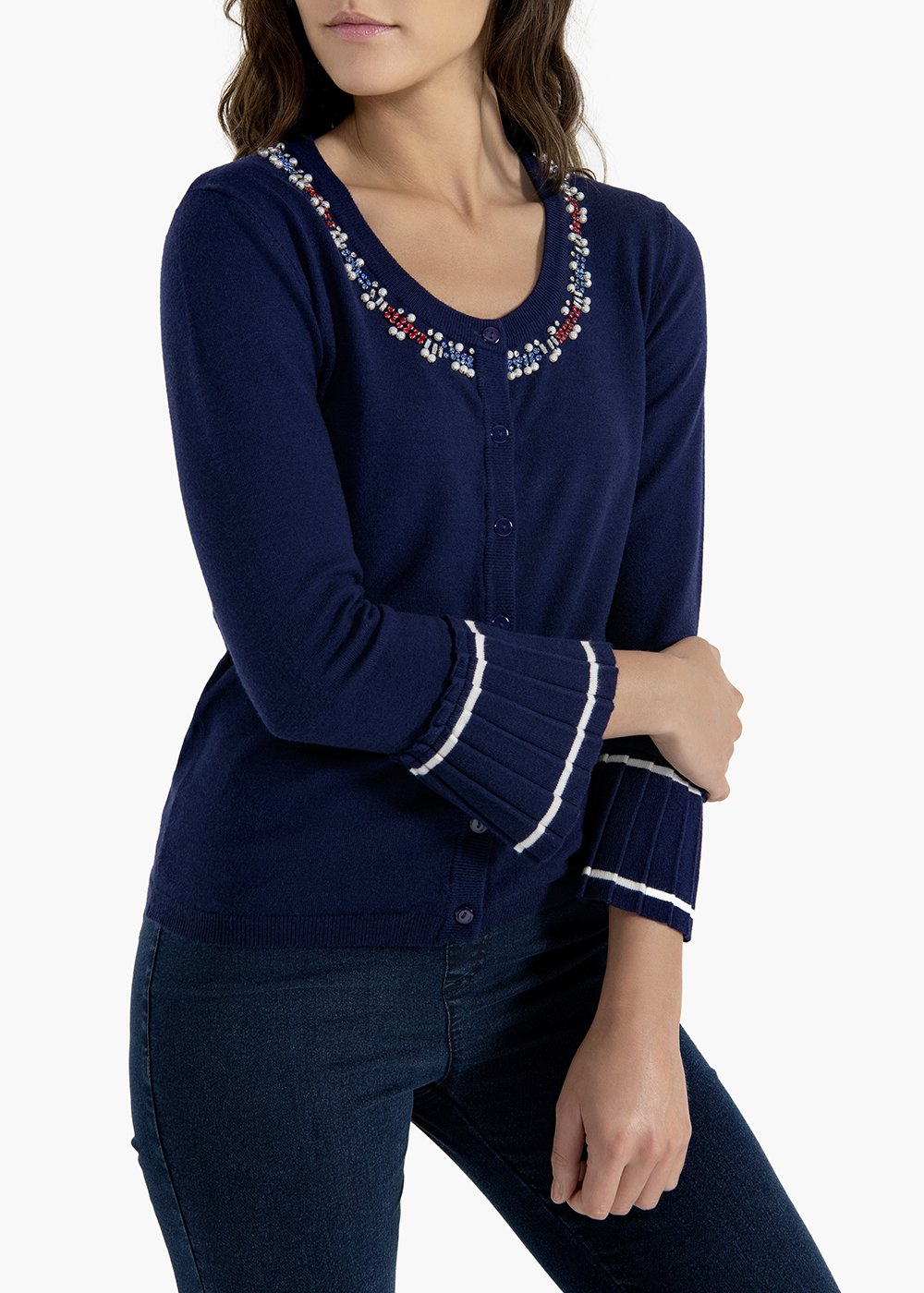 Cardigan Castor a manica lunga con balza plissé - Medium Blue - Donna