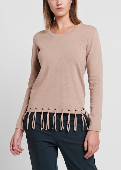 Desert - coloured viscose sweater with bottom fringes