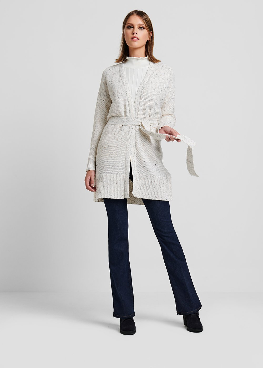 Long wool cardigan with waist belt - Off White Melange - Woman
