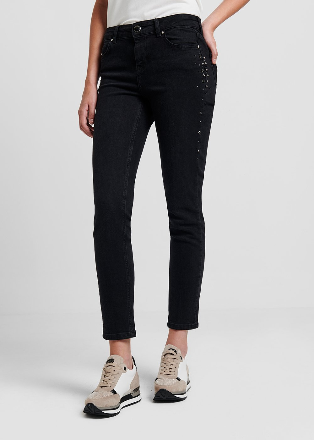 Dean denim with side studs - Black - Woman