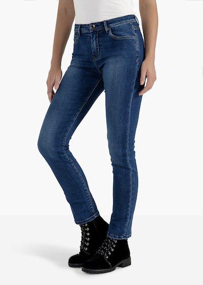 Pantaloni Dolly in denim gamba skinny con borchiette laterali