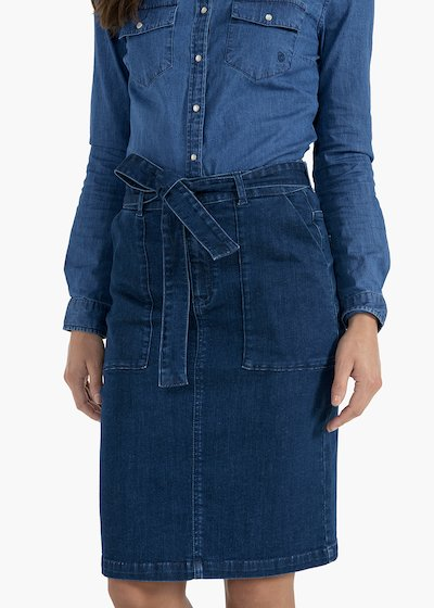Glen denim skirt with pockets and belt