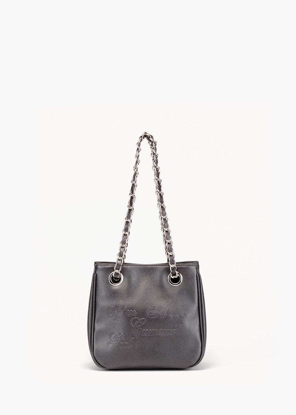 Shopping bag Micro Camo Glitter in eco pelle - Gun Metal - Donna