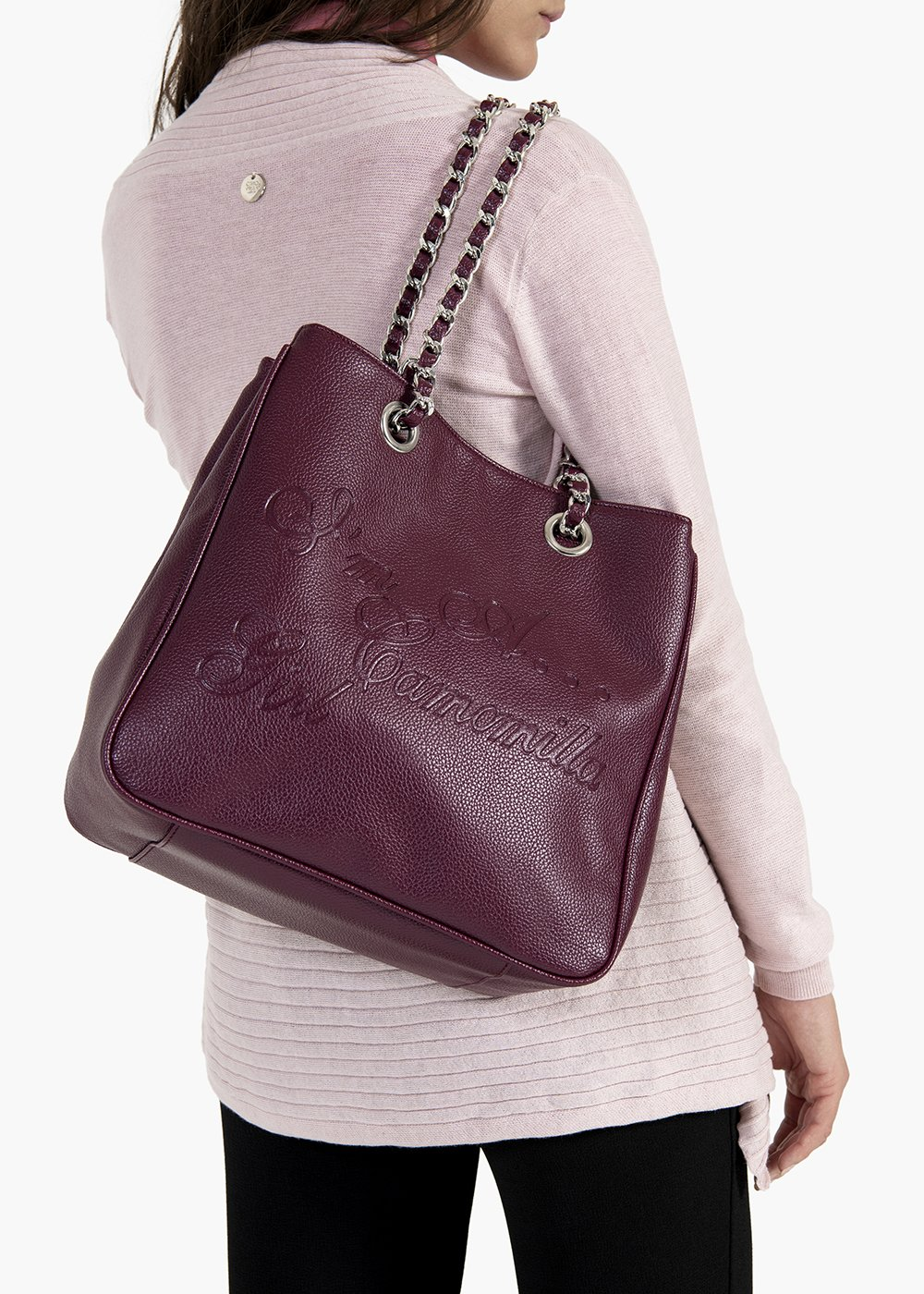 Mini Camo Girl shopping bag in eco leather with chain handles - Black cherry - Woman