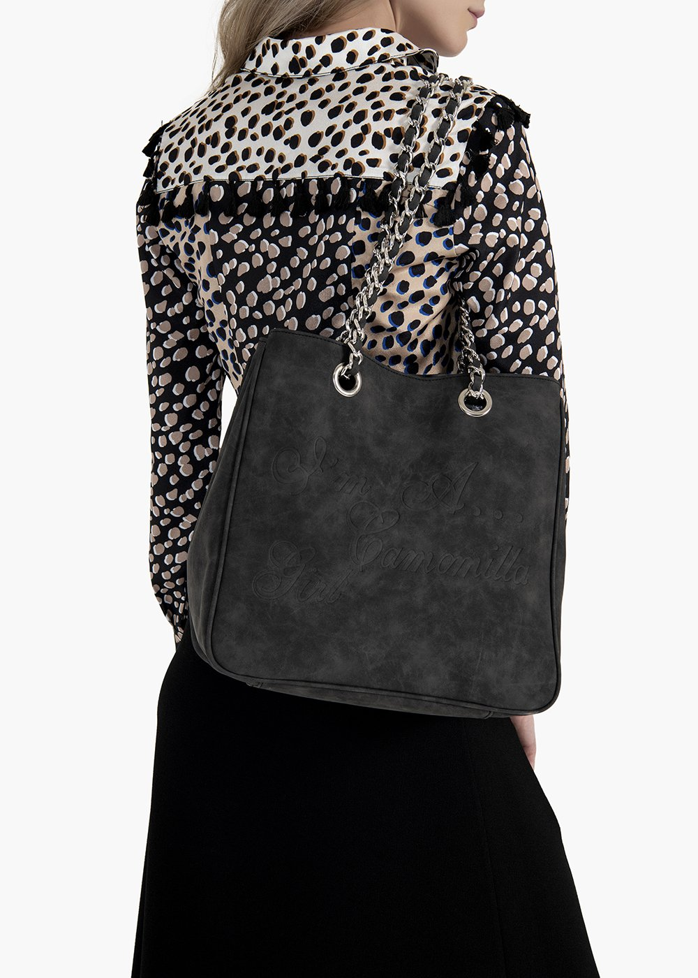 Mini Camo Brushed shopping bag in brushed eco leather with embossed logo - Black - Woman