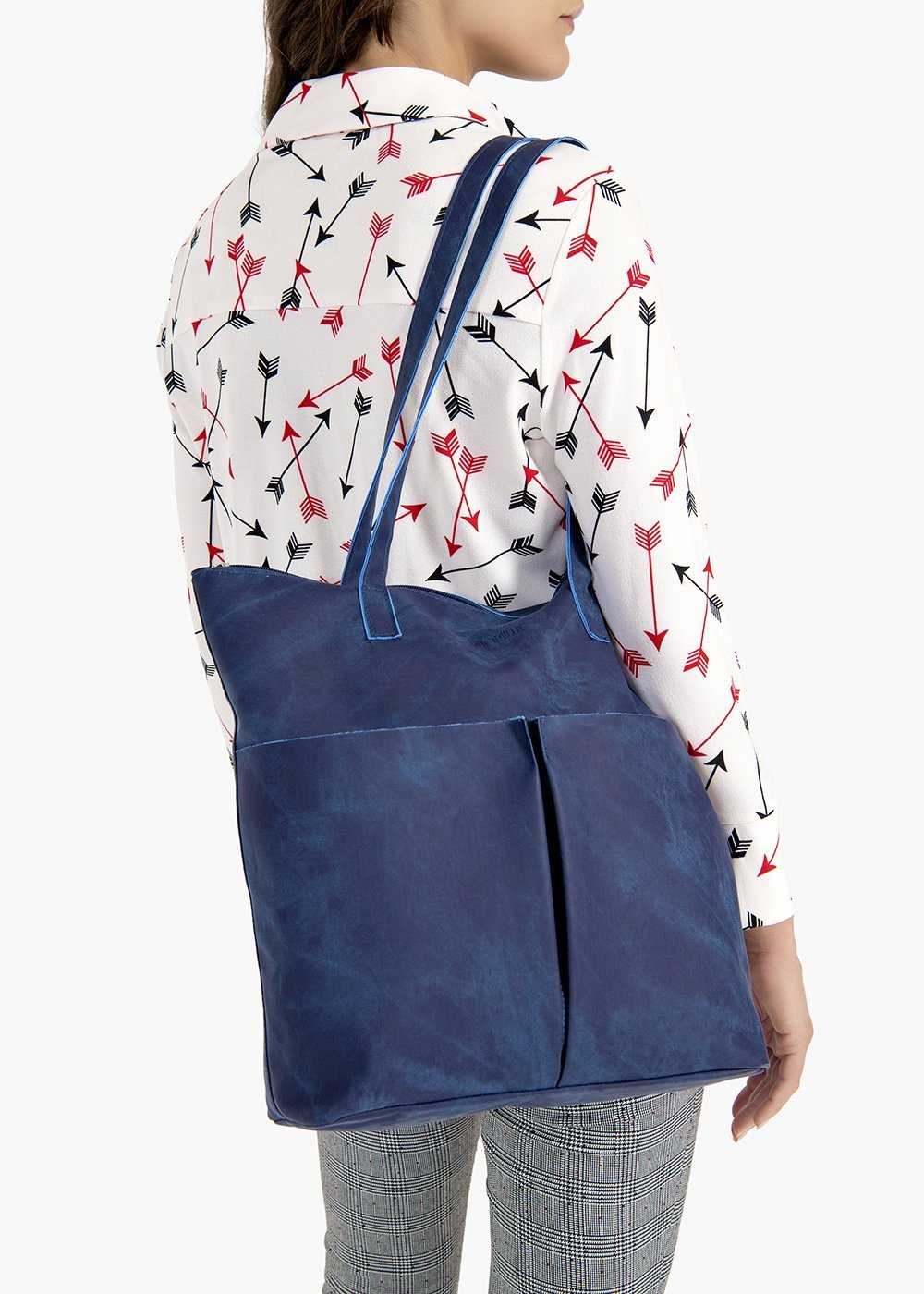 Baylee shopping bag in eco-leather with used effect pockets on the front - Medium Blue - Woman