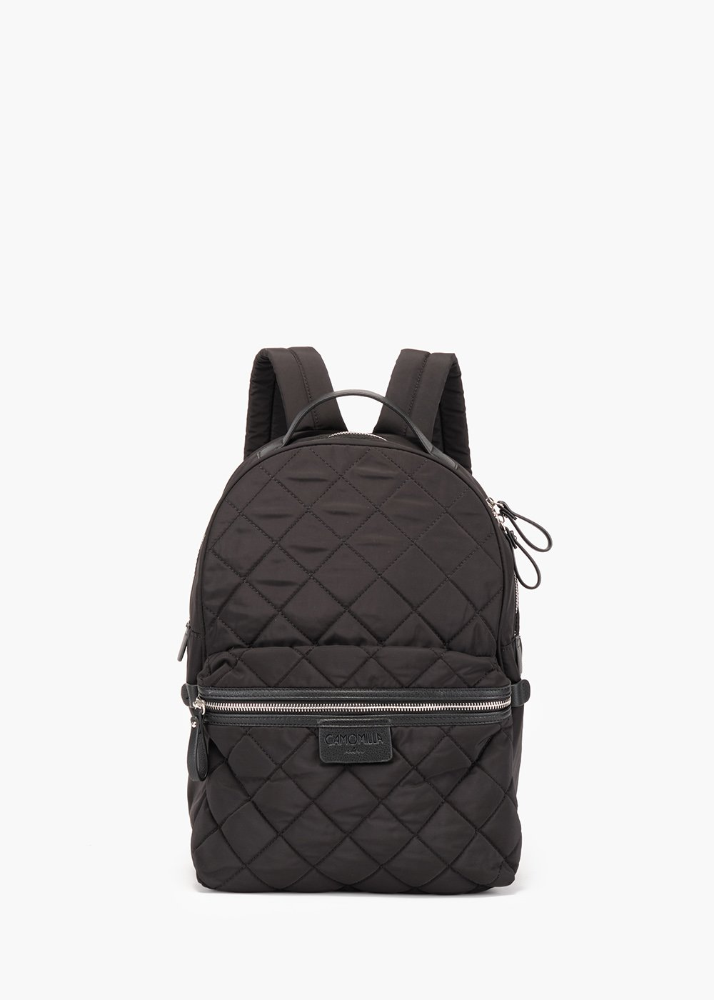 Beckie nylon backpack with matelassé topstitching - Black - Woman