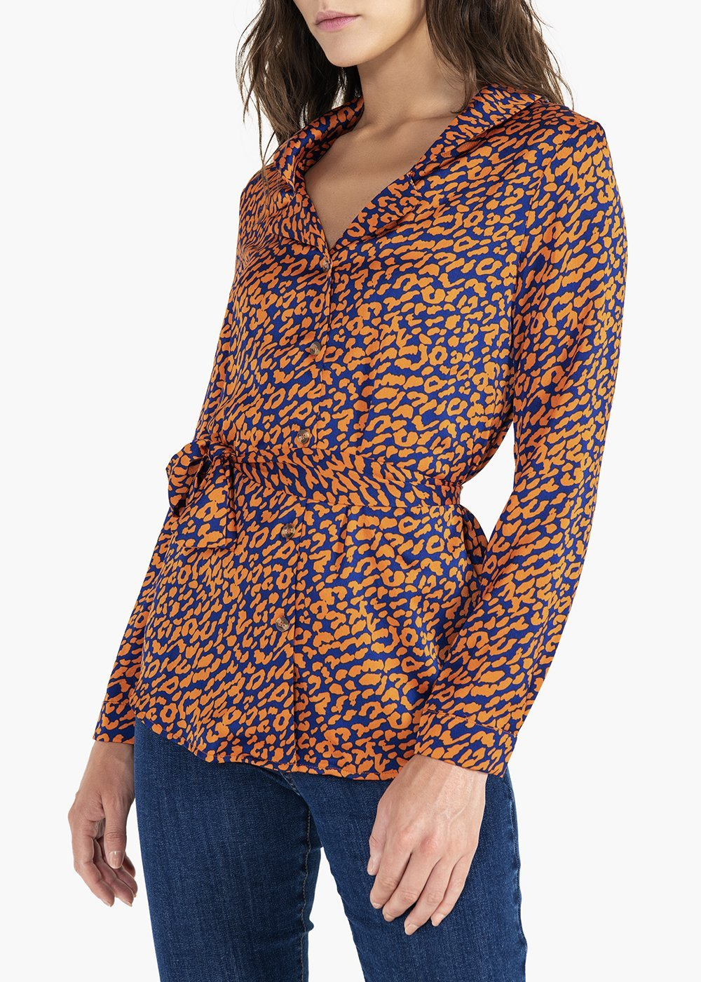 Camicia Charlen con colletto a rever e cintura - Mandarino\ Night\ Animalier - Donna