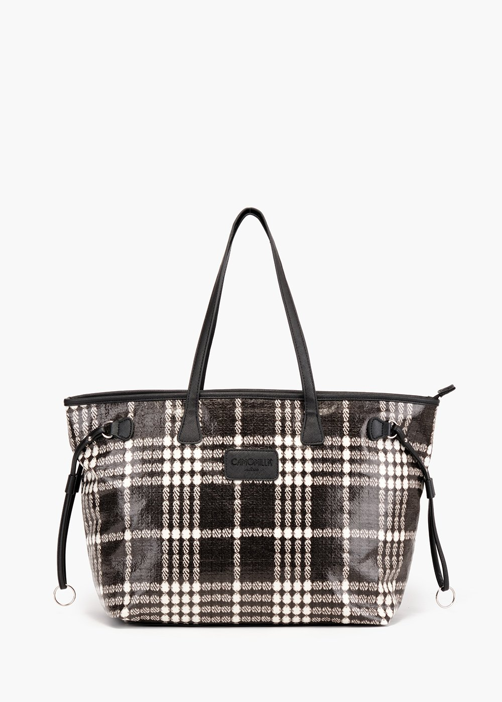 Nelly Tartan shopping bag in bonded fabric - Black / White Fantasia - Woman
