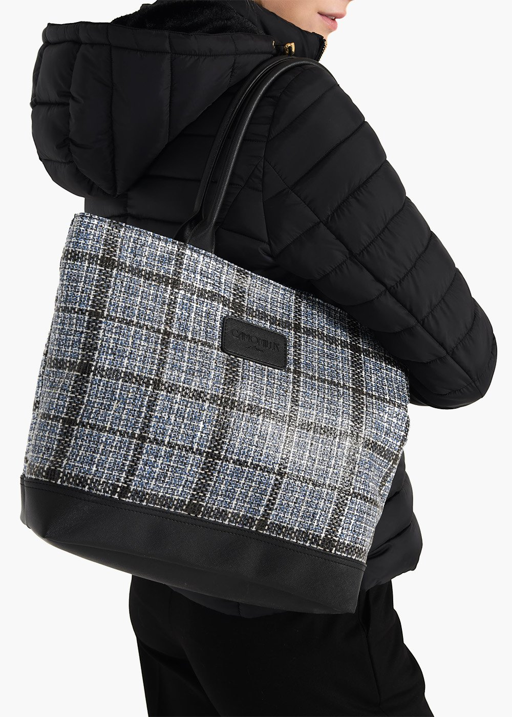 Trend Tartan shopping bag in tartan fabric with double handles - Avion / Black Fantasia - Woman