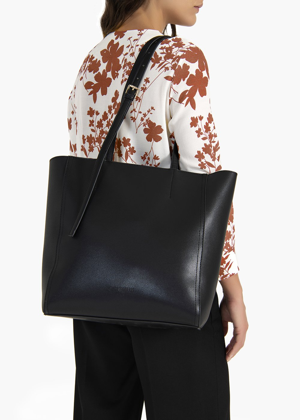 Belia shopping bag in unlined eco leather - Black - Woman
