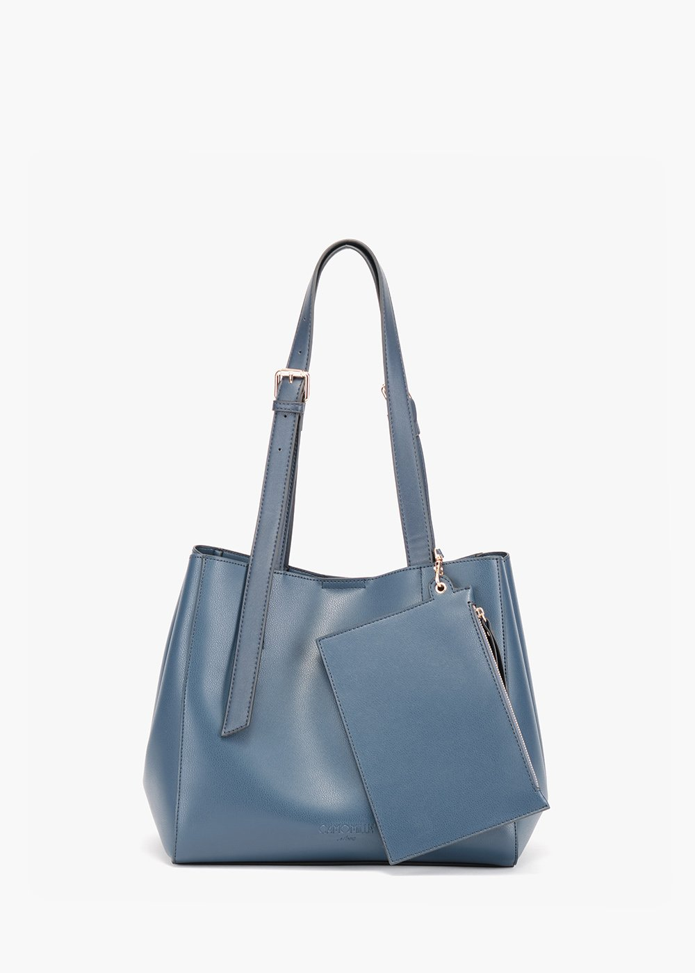 Beren bag in unlined eco leather - Medium Blue - Woman